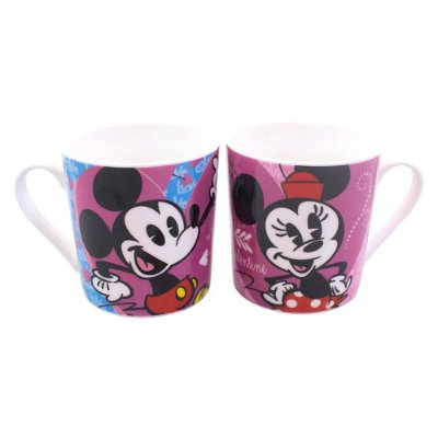 Conjunto Mickey e Minnie 2 Canecas Cartoon 250ml
