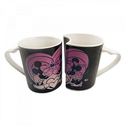 Conjunto De Canecas Amor Mickey e Minnie De Porcelana Preta