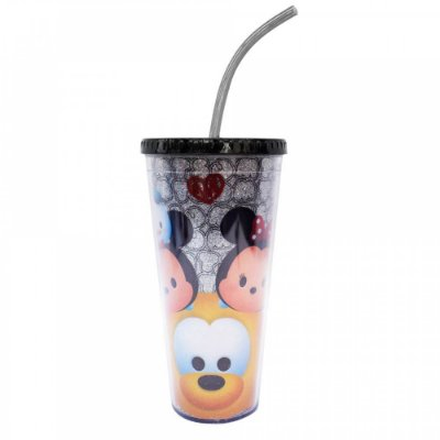 Copo Mickey E Minnie Com Cubos De Gelo Preto Tsum Tsum 600ml