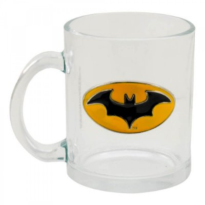 Caneca Brasão Batman Vidro Metal 370ml