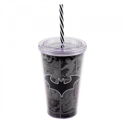 Copo Batman Com Tampa e Canudo 450ml
