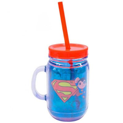 Caneca Jarra Superman HQ com Canudo 420ml