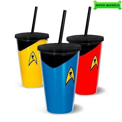 Kit Copo Star Trek com Canudo 500ml