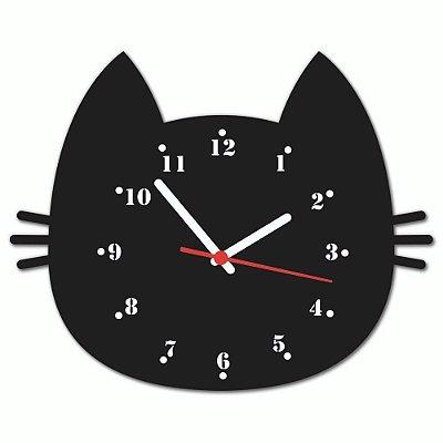 Relógio Geek Cabeça Gato Preto