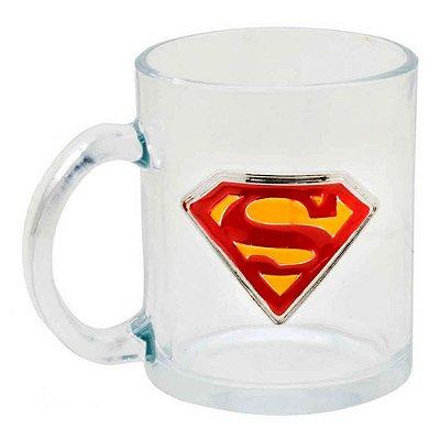 Caneca Superman Vidro Brasão Metal 370ml
