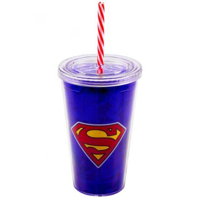 Copo Superman com Canudo 450ml