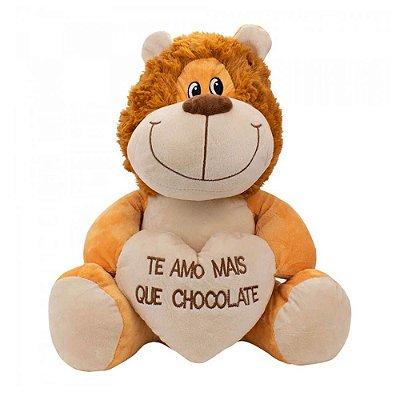 Pelúcia Leão Coração Amo Mais que Chocolate 27cm