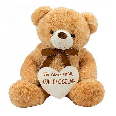 Pelúcia Urso Coração Amo Mais que Chocolate 48cm