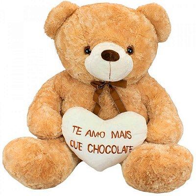 Pelúcia Urso Gigante Coração Amo Mais que Chocolate 72cm