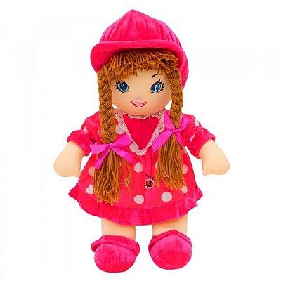Boneca de Pano com Vestido Pink 50cm