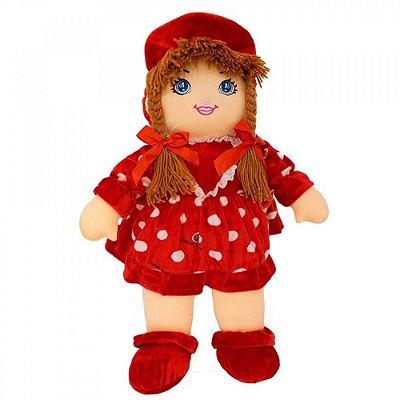 Boneca de Pano com Vestido Vermelho 50cm
