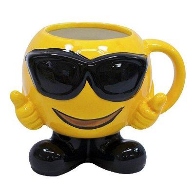 Caneca 3D Emoticon Óculos Escuros Porcelana 400ml