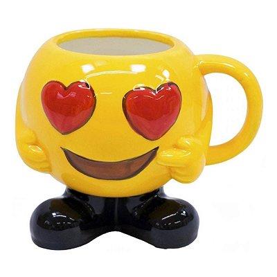 Caneca 3D Emoticon Olhos de Coração Porcelana 400ml
