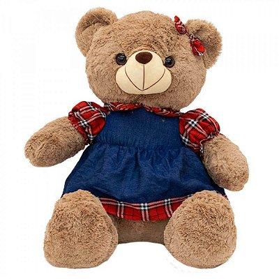 Pelúcia Urso Vestido Xadrez 48cm