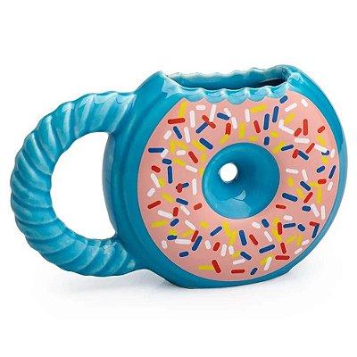 Caneca 3D Donuts Rosquinha Azul Cerâmica 400ml