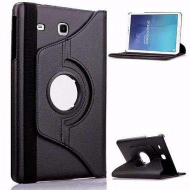 Capa Couro Sintético Estilo Pasta Giratória Cor Preta para Tablet Samsung Galaxy Tab E T116