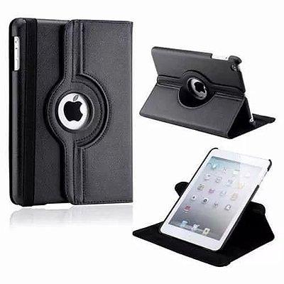 Capa Couro Sintético Estilo Pasta Giratória Cor Preta para Tablet Apple iPad 5-6-Air-Air2