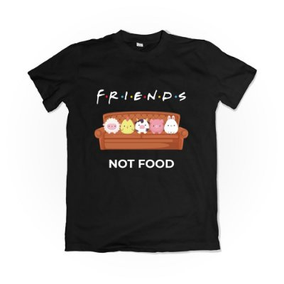 Camiseta Friends Not Food - Preta