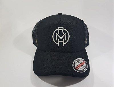 Boné Trucker Snapback RMH - Aba CurVa - Preto estampa Branca