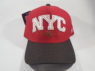 Boné Snapback NY New York- Aba curva - Vermelho e marrom