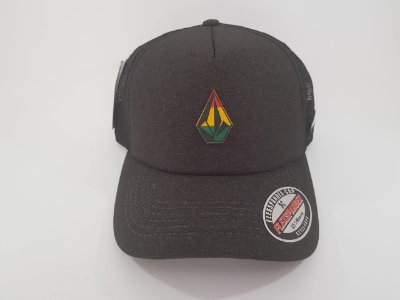 Boné Trucker Snapback Volcom - Aba curva - Cinza