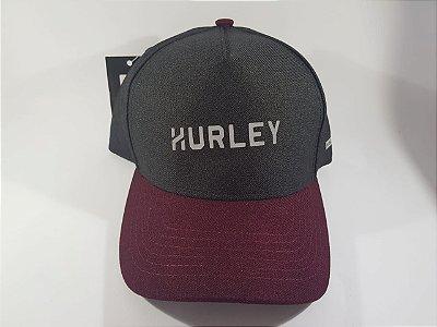 Boné Snapback Hurley Refletivo - Aba curva - Cinza e Bordo