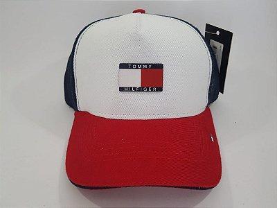 Boné Trucker Strapback Tommy Hilfiger - Aba curva - Branco, Vermelho e azul marinho