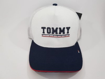 Boné Trucker Strapback Tommy Hilfiger - Aba curva - Branco e Azul marinho