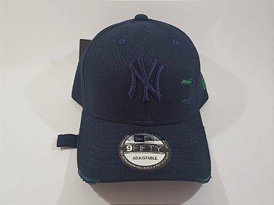 Boné Strapback Destroyed NY New York- Aba Curva - Azul marinho