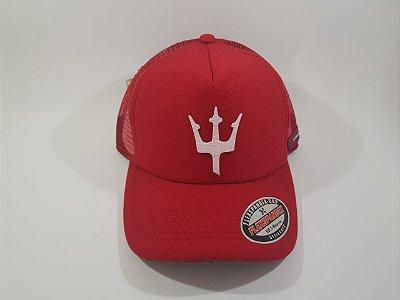 Boné Trucker Snapback Osklen - Aba Curva - Vermelho