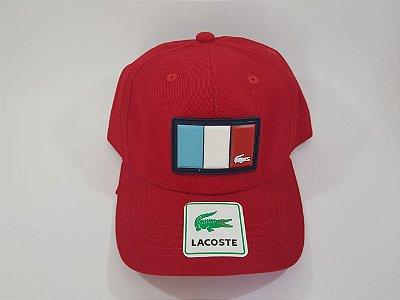 Boné Strapback Lacoste - Aba curva - Vermelho