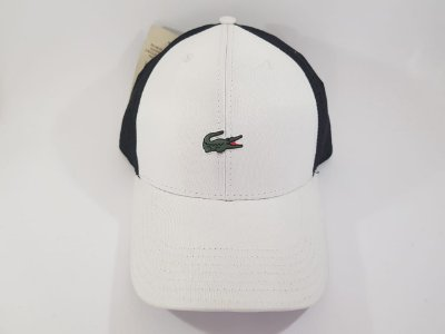 Boné Strapback Lacoste - Aba curva - Branco e Preto
