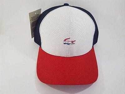 Boné Trucker Snapback Lacoste - Aba curva - Branco, Vermelho e Azul marinho