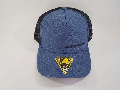 Boné Trucker Snapback OAKLEY - Aba curva - Azul e preto
