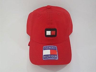 Boné Strapback Tommy Hilfiger - Aba curva - Vermelho