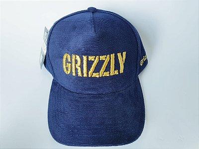 Boné Snapback GRIZZLY - Aba Curva - Aveludado - Azul marinho