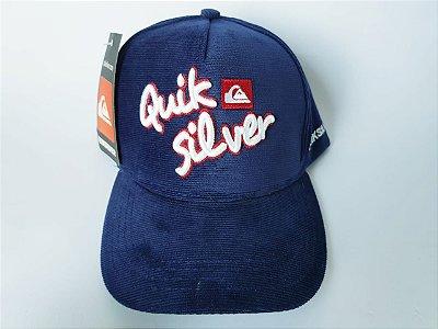 Boné Snapback QuikSilver - Aba Curva - Aveludado - Azul marinho