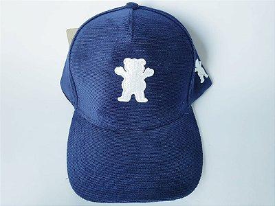 Boné Snapback Grizzly - Aveludado - Aba curva - Azul marinho