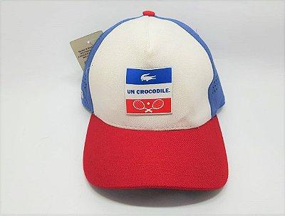 Boné Lacoste Snapback - Aba curva - Branco, vermelho e azul