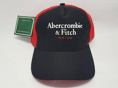 Boné Abercrombie & Fitch - Snapback - Preto e Vermelho