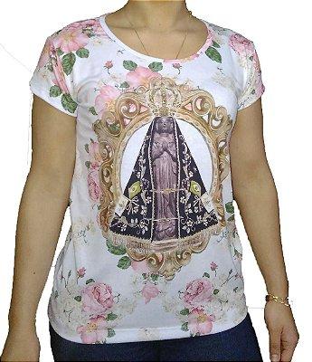 Camiseta Feminina Bege Flores