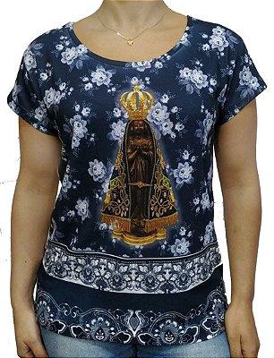Camiseta Feminina Aparecida floral azul