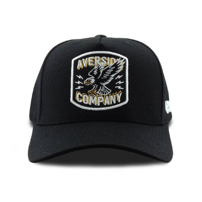 Boné Aversion Snapback Aba Curva Preto - Model Eagle Patch