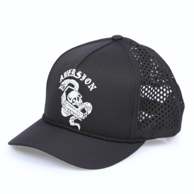 ÚLTIMAS PEÇAS | Boné Aversion Performance Trucker Snapback Aba Curva Preto - Model Skull