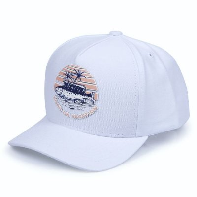 Boné Aversion Snapback Aba Curva Branco - Model Vacation