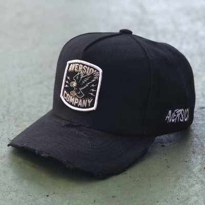 ÚLTIMA PEÇA | Boné Aversion Snapback Aba Curva Preto Destroyed - Model Eagle Patch