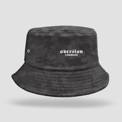 Chapéu Bucket Hat Aversion Camuflado Preto/Cinza