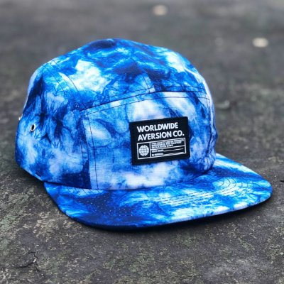 Boné Aversion Five Panel Aba Reta Tie Dye Azul - Model Worldwide