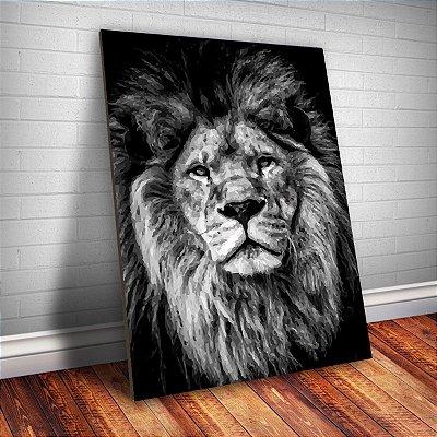 Placa Decorativa - Pintura Leão 30X42 cm