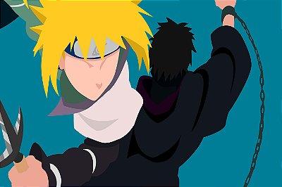 Quadro Naruto - Minato vs Tobi Minimalista